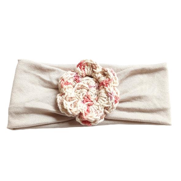 Headband / Girls - Cream with Mottled Pink Flower - M0381