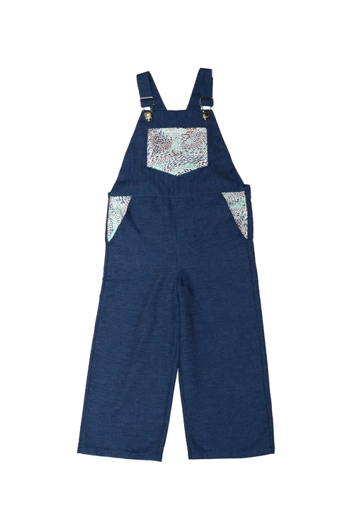 Dungarees / Unisex - Denim and Blue Fish Swirl - M0299