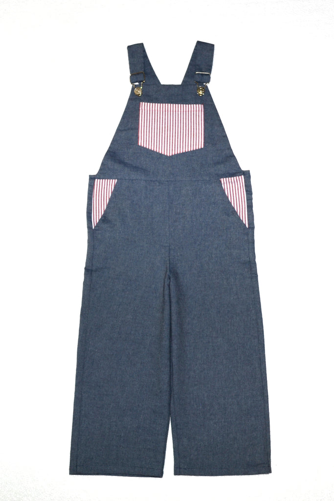 Dungarees / Unisex - Denim and Nautical Stripe - M0298