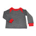 Tracksuit Top / Boys - Grey and Red Fleece - M0359
