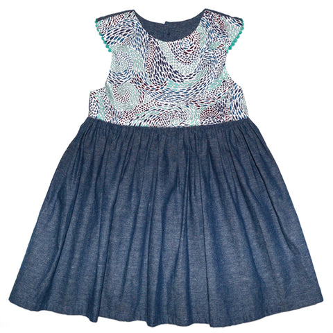 Dress / Girls - Denim and Blue Fish Swirl - M0390