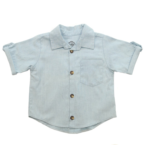 Shirt / Boys - Short Sleeve Denim Chambray  - M0415