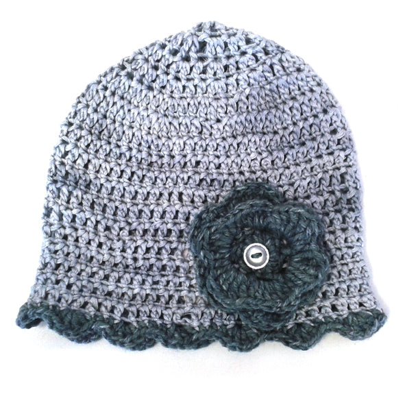 Winter Beanies / Girls - Grey with Flower - M0214