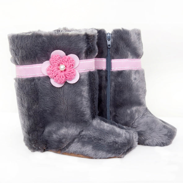 Boots / Girls - Grey Fur with Pink Flower - M0027