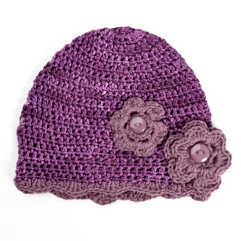 Winter Beanies / Girls - Dark Purple with Flowers - M0037