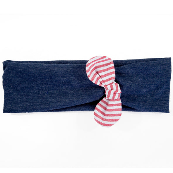 Headband / Girls - Navy with Nautical Bow - M0043
