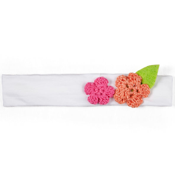 Headband / Girls - White with Pink and Coral Flowers - M0050