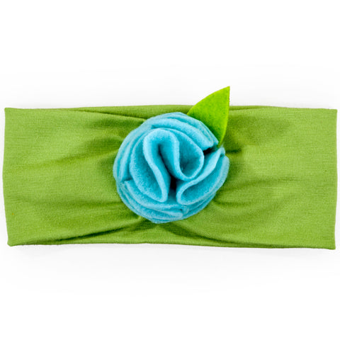 Headband / Girls - Lime with Blue Flower - M0062