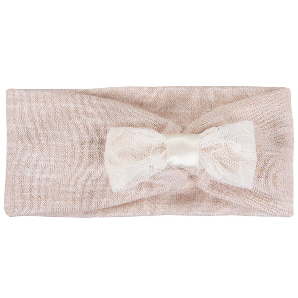 Headband / Girls - Cream with Lace Bow - M0065