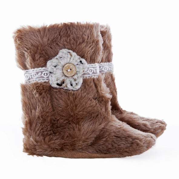 Boots / Girls - Fawn Fur Lace and Flower - M0108