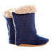 Boot / Unisex - Denim and Beige Sheepskin - M0110