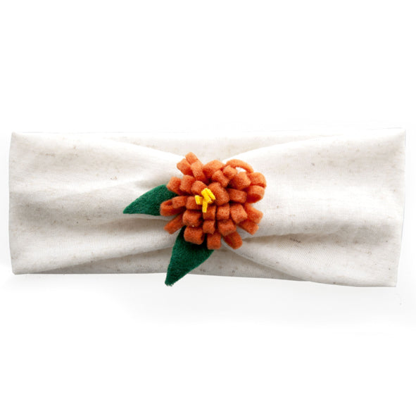 Headband / Girls - Cream and Orange Flower - M0118