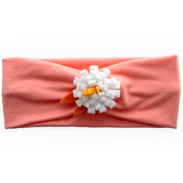 Headband / Girls - Apricot with White Flower - M0119