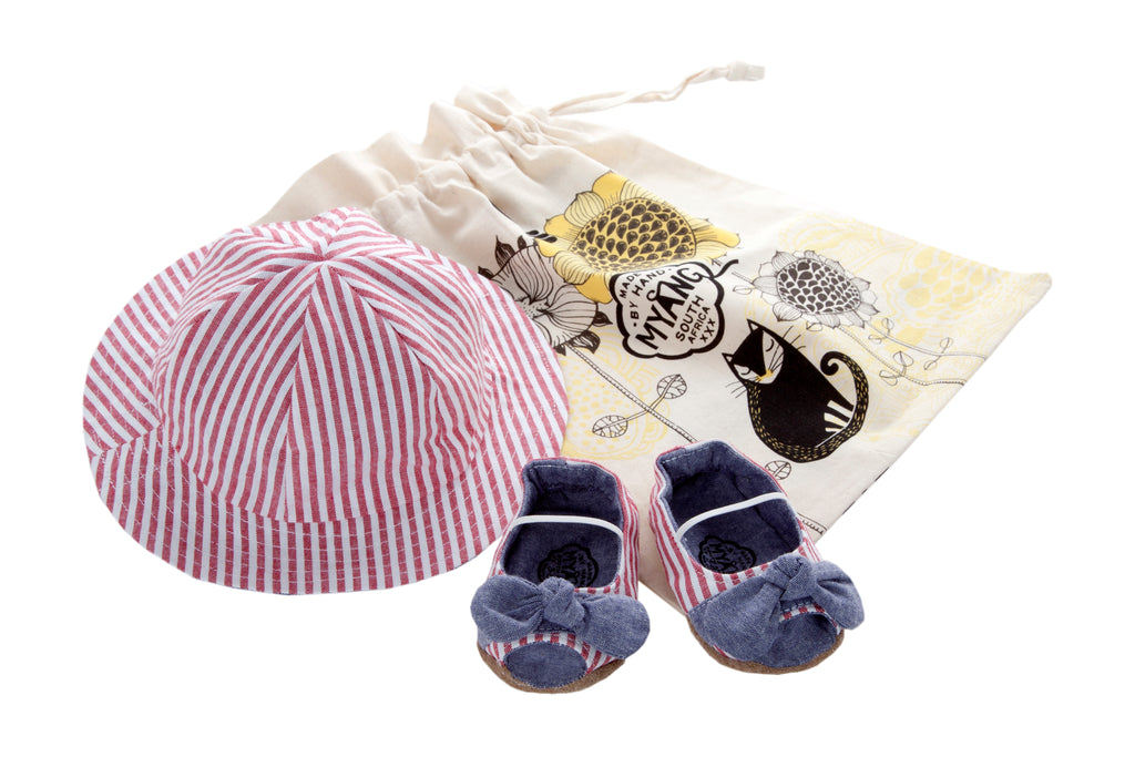 Sets / Girls - Nautical Stripe and Denim Peep toe Shoes and Hat - M0141