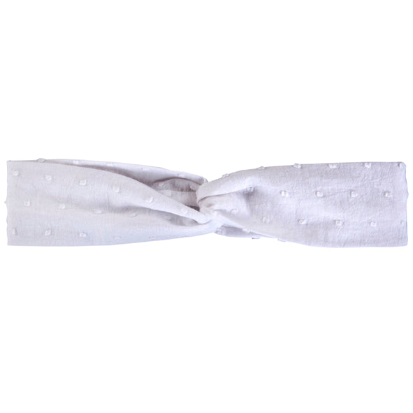 Twist Headband / Girls - White Dot - M0212