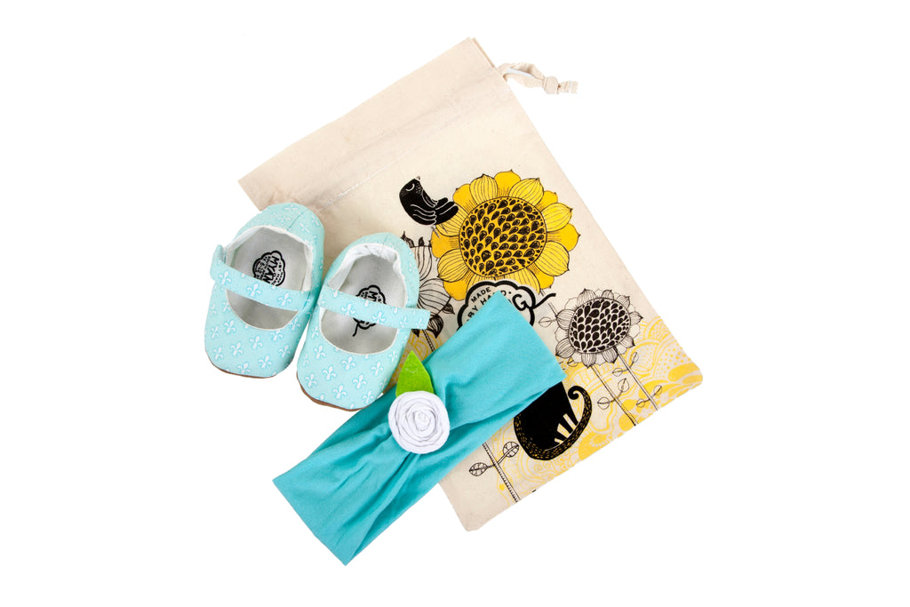 Sets / Girls - Mary Jane Fleur de Lis Shoes and Headband Aqua with Flower - M0233