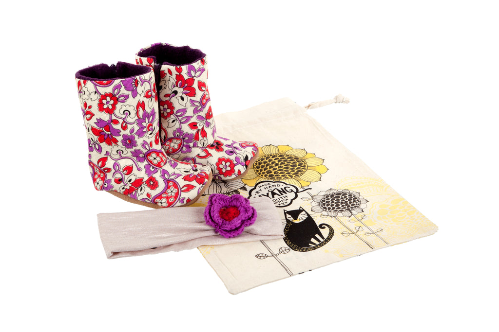 Sets / Girls - Floral Cord Boots and Headband Cream with Lilac and Red Flower - M0242