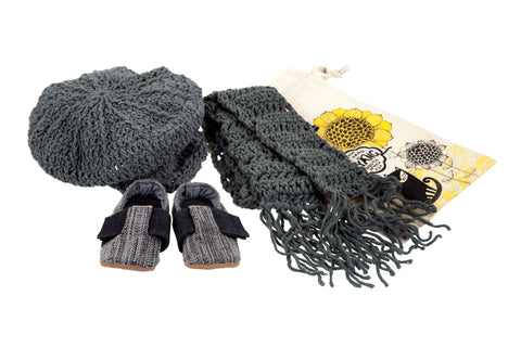 Sets / Boys - T-bar Charcoal Tweed Shoes and Gatsby Cap and Scarf Grey - M0247