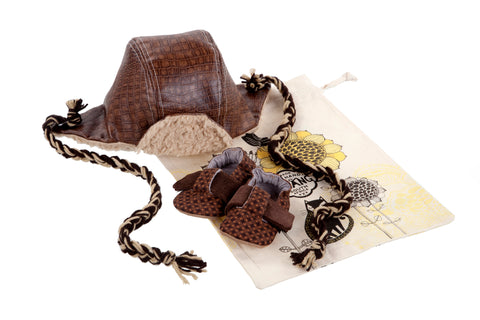 Sets / Boys - T-Bar Caramel Criss-Cross Shoe and Hat Aviator Brown - M0251