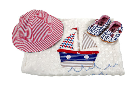 Sets / Boys - Hat Nautical and Keyhole Rope Shoe and Blanket Boat - M0252