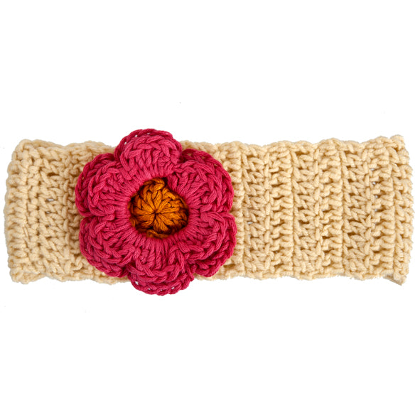 Winter Headband / Girls - Rich Cream with Coral Flower - M0271