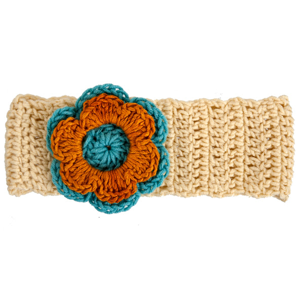 Winter Headband / Girls - Rich Cream with Cyan and Ochre Flower - M0273