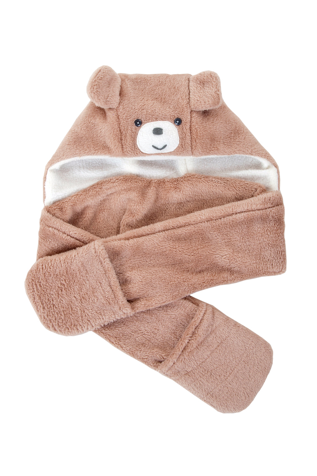 Winter Beanies / Unisex - Taupe Bear Beanie with Pocket Scarf - M0295