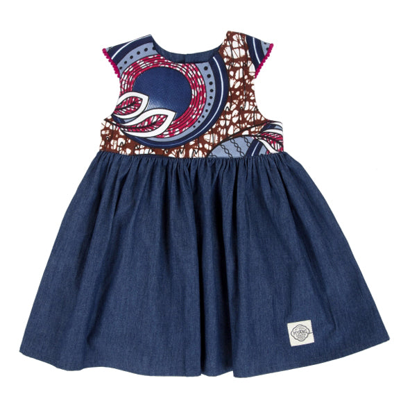 Dress / Girls - Denim and Blue Wax Cloth - M0347