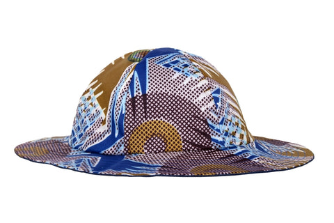 Hat / Boys - Yellow and Blue Wax Print - M0317