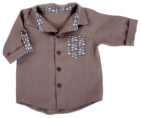 Shirt / Boys - Taupe Linen Shirt with Car Trim- M0333