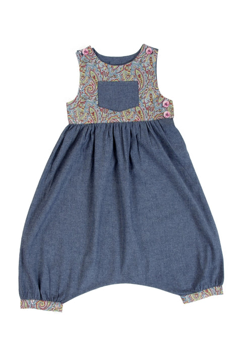 Playsuit / Girls - Denim and Paisley - M0335
