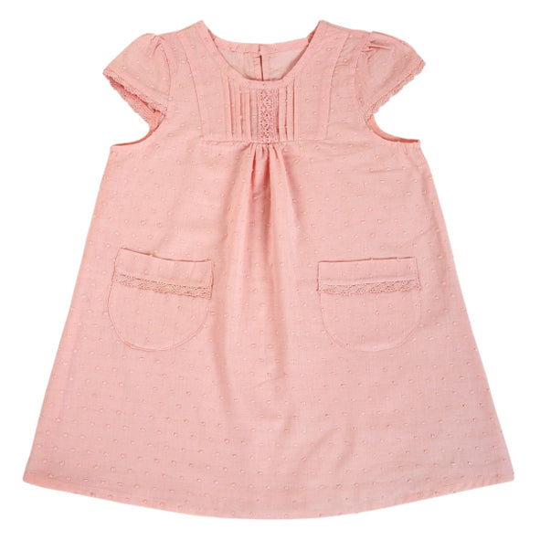 Dress / Girls - Salmon with Lace - M0336