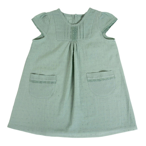 Dress / Girls - Sage with Lace - M0337