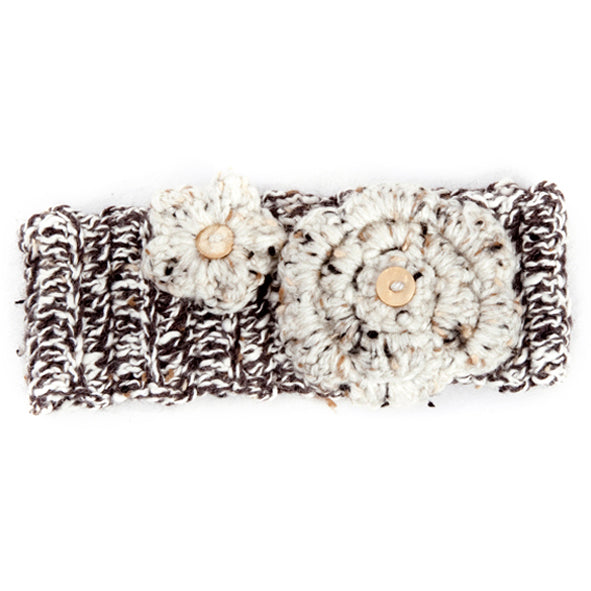 Winter Headband / Girls - Brown Speckled with Flower - M0052