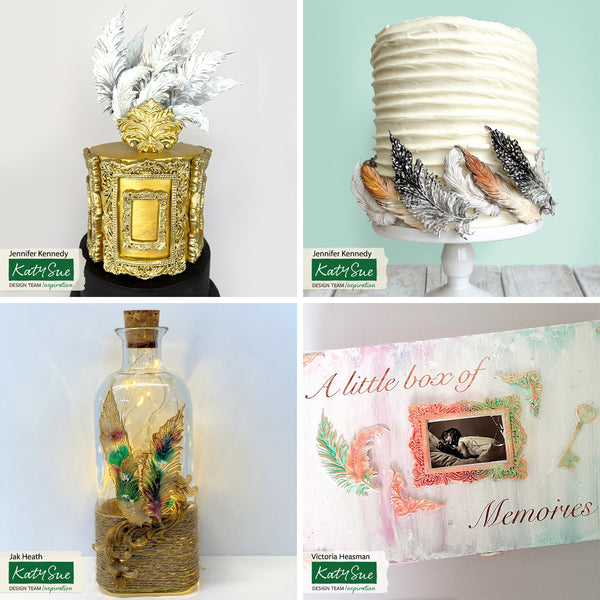 Katy Sue Feathers Mould cake and craft examples