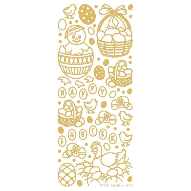 Easter Gold Self Adhesive Peel Off Stickers