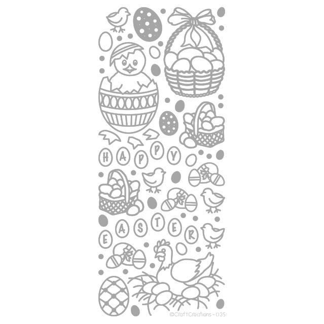 Easter Silver Self Adhesive Peel Off Stickers