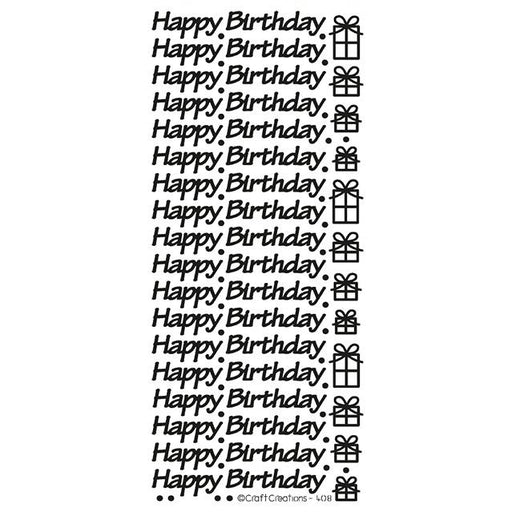 Happy Birthday Black Self Adhesive Peel Off Stickers