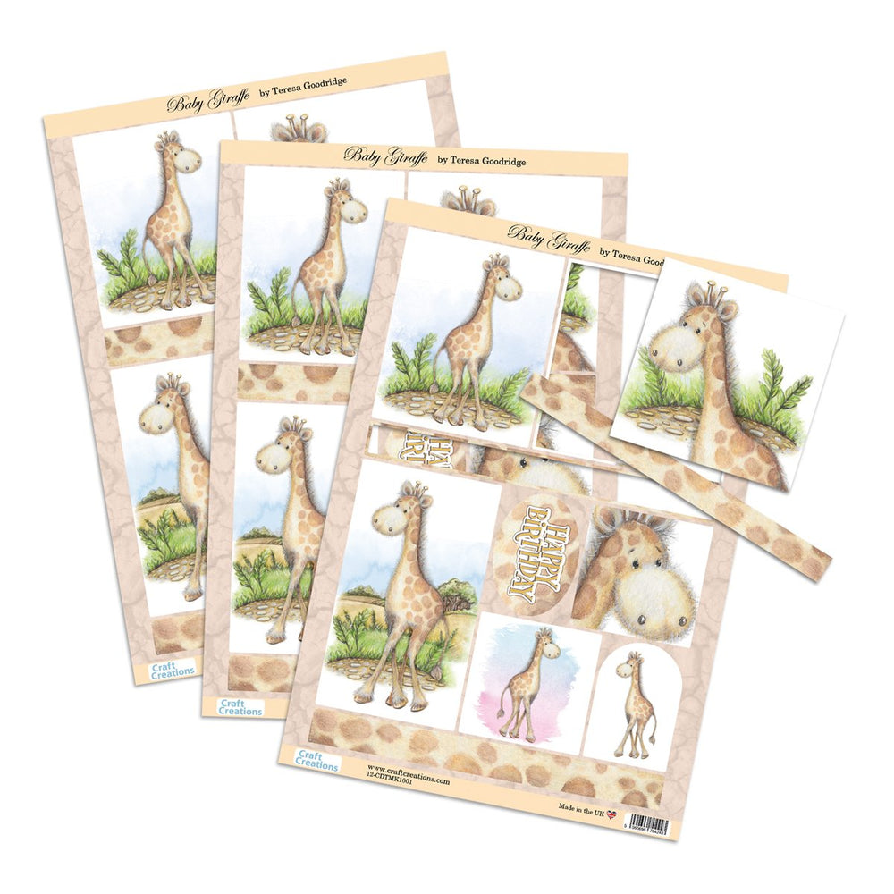 Die Cut Toppers - Baby Giraffe (Pack of 3)