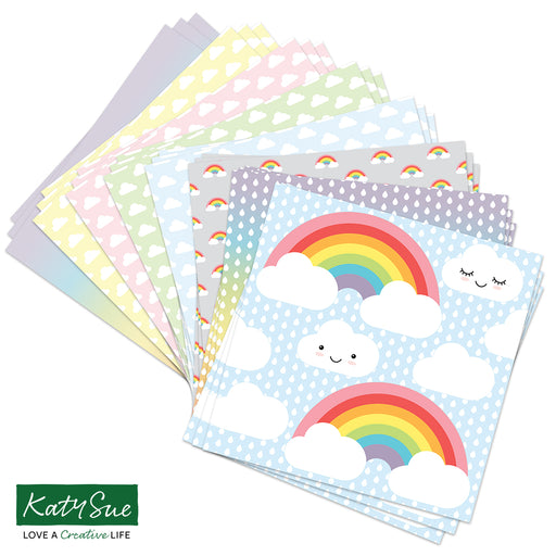 12 x12 Sweet Pastel Weather and Rainbows Background Papers