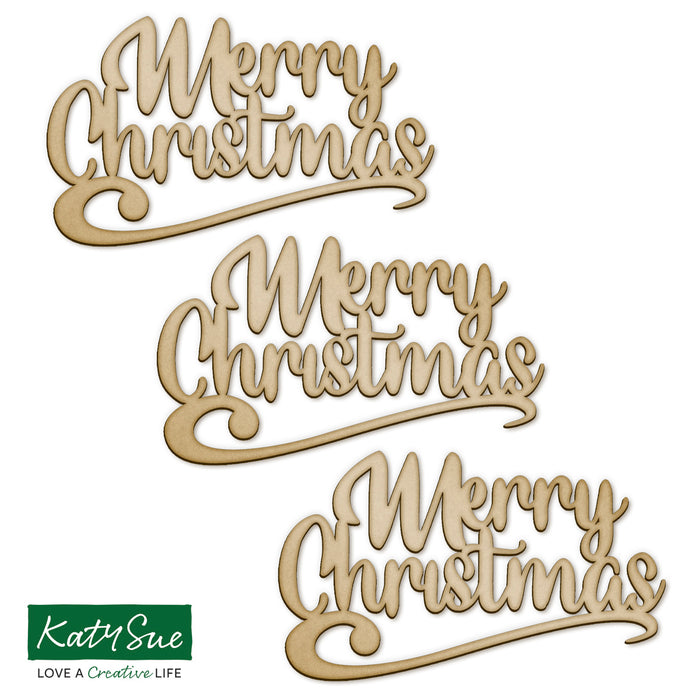MDF Embellishment Words - Merry Christmas (Set of 3)