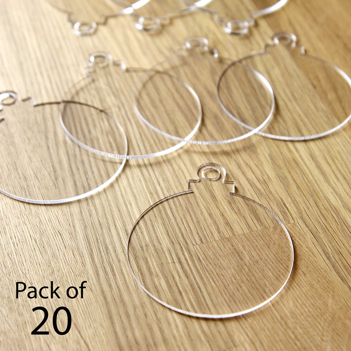 Acrylic Christmas Hanging Baubles - 2mm Clear Pack of 20