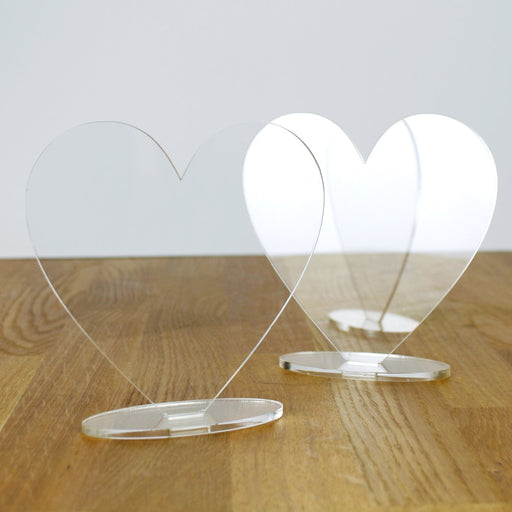Freestanding 3mm Clear Acrylic Hearts and Stands (2 Pack)