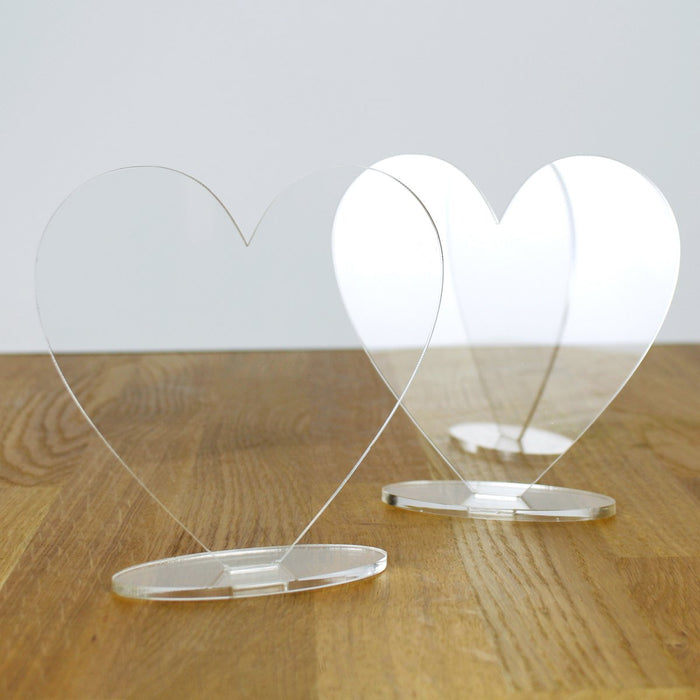 3mm Clear Acrylic Hearts and Stands