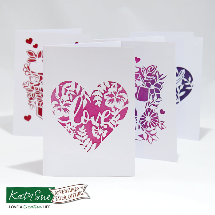 Adventures in Paper Cutting | Hearts & Flowers Cards Set