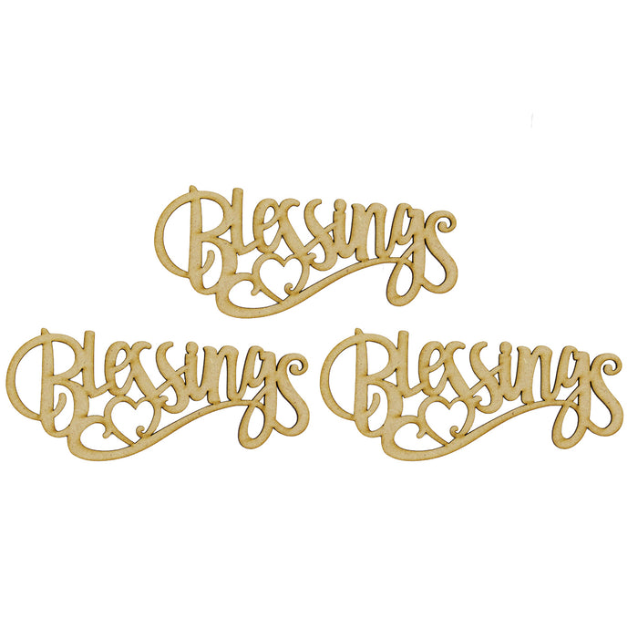 MDF Embellishment Words - Blessings (Set of 3)