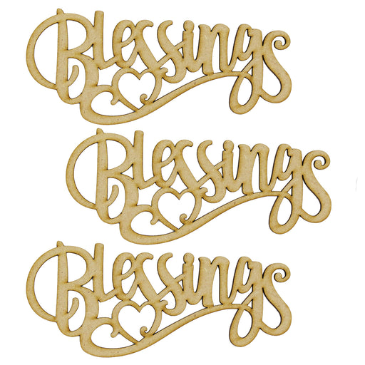 MDF Embellishment Words - Blessings - Set of 3 words