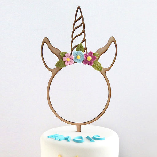 Unicorn Hoop Wooden Cake Topper