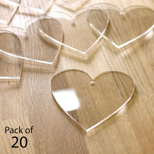 Katy Sue 2mm Clear Acrylic Hanging Hearts - Pack of 20