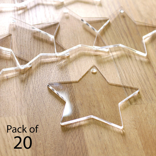 Katy Sue 2mm Clear Acrylic Hanging Stars - Pack of 20